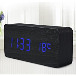 Quality Digital LED Alarm Clock Sound Control Wooden Despertador Desktop Clock USB/AAA Powered Temperature Display (Blue)
