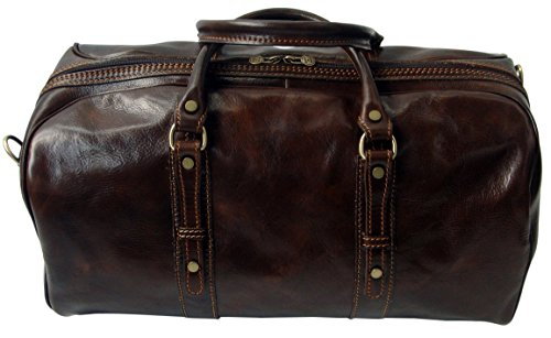 Small Brown Rivello Dark Shoulder Strap Genuine Carry Brown Holdall Leather Dark Bag Detachable On z8azwgp
