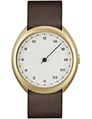 slow O 12 - Swiss Made one-hand 24 hour watch - Gold with dark brown leather band