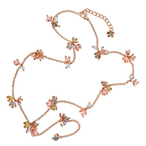 - Abbott Collection 51-PERSIA-NK-12386 Pastel Rosette Y-Drop Necklace-19 L Pink