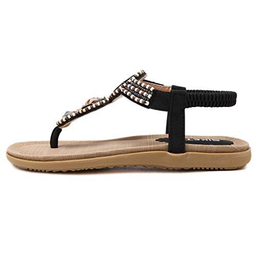 Peep Slippers Bohême De Toe T Flip Sandales Plage Minetom Toe Femmes Chaussure Clip Plat Noir Filles Flops Été Sangle Tongs U1wc4z8q