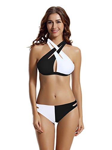 zeraca Women's Sexy High Neck Crisscross Halter Colorblock Bikini Swimwear (S6, Black White)