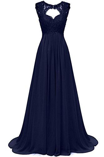 Ballkleider Spitze Brautjungfer Damen Hochzeit Lang Kleider Blau Chiffon Navy Elegant Abendkleider Für Carnivalprom Zfvwv