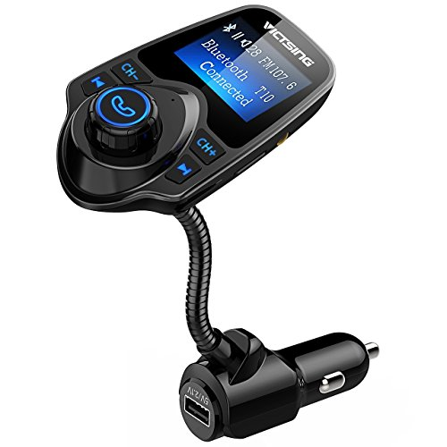 VicTsing Bluetooth FM Transmitter, Wireless in-Car FM Transmitter Radio Adapter Car Kit with USB Car Charger AUX Input 1.44 Inch Display TF Card Slot by VicTsing