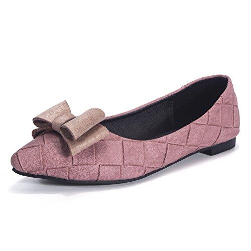 Semelle D'honneur Nœud Travail De Florata Tissu Féminin Chaussures Carreaux Demoiselle Le Chaussures Plate À De Rose mode Papillon À Chaussures Y6qwxd