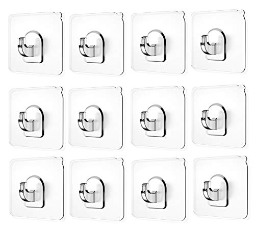 Ninth Five Wall Hooks(13.2lb), Self Adhesive Hooks, Clear Plastic Reusable Heavy Duty Hook for Kitchen Bathroom Office, No Trace No Scratch Waterproof and Oilproof (12 Pack)