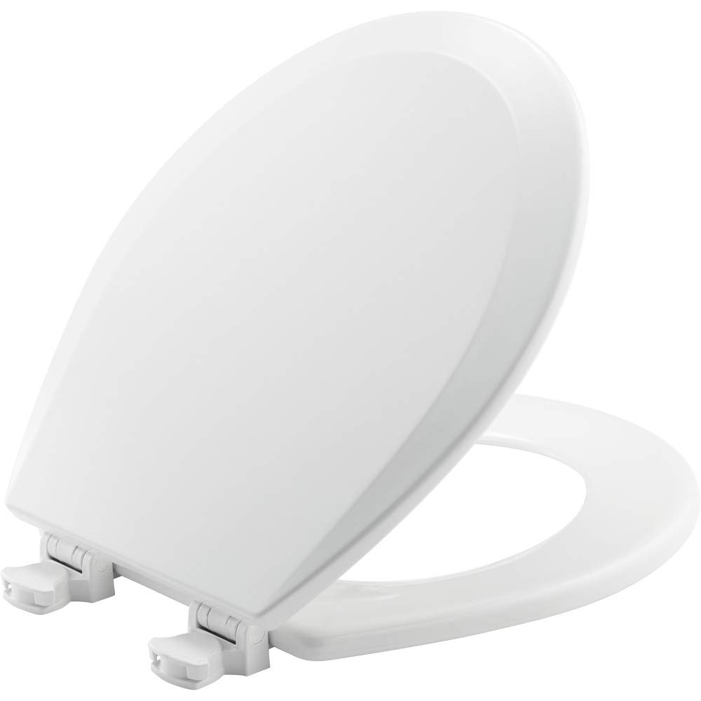 CHURCH 540EC 000 Toilet Seat with Easy Clean & Change Hinge, ROUND, Durable Enameled Wood, White