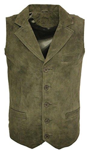 Men's Smooth Goat Suede Classic Smart Khaki Leather Waistcoat (Classic Suede Vest)