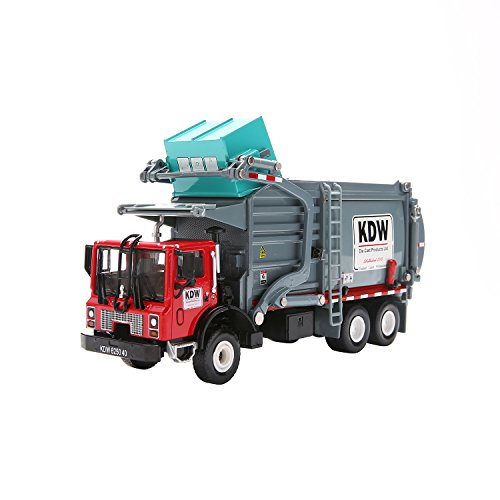 (Garbage Truck Toy Model, 1:43 Scale Metal Diecast Recycling Clean Trash Garbage Rubbish Waste Transport Truck Alloy Model Mold Car Toy with Garbage Cans for Kids Toddlers Birthday Party Supplies)