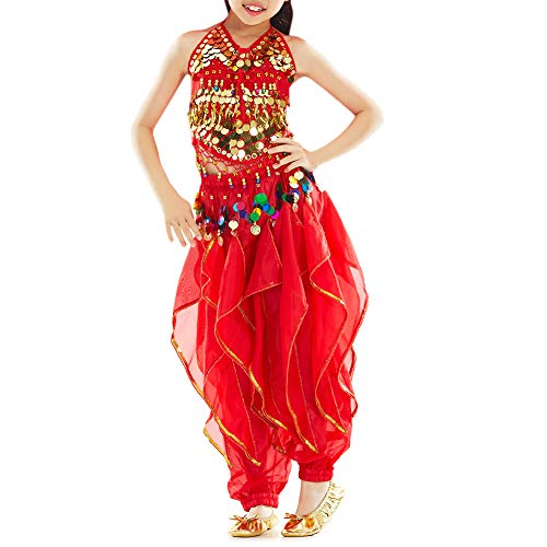 TOPTIE 2-Pieces Kids Sparkle Belly Dance Dress, Girls Halloween Costume Set