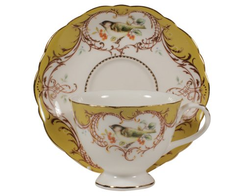Gracie China by Coastline Imports 7-Ounce Tea Cup and Saucer Scallop Edge, Yellow Bird - Edge Tea Saucer