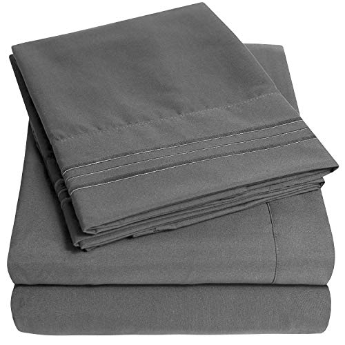 1500 Supreme Collection Extra Soft Full Sheets Set, Gray - Luxury Bed Sheets Set With Deep Pocket Wrinkle Free Hypoallergenic Bedding, Over 40 Colors, Full Size, Gray
