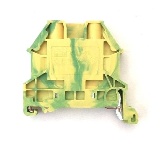 Dinkle DK4N-PE DIN Rail Grounding Terminal Block with Cover DK2.5NC-PE Screw Type Green Yellow IEC 630V UL 30A 10-28AWG, Pack of 25