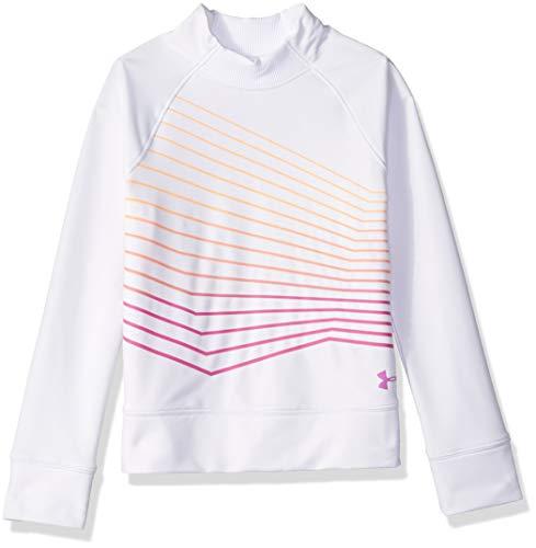 Under Armour Girls Coldgear Mock Long sleeve Sweatshirt, White (100)/Fluo Fuchsia, Youth Large