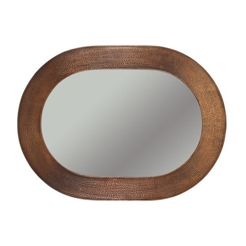 Premier Copper Products 35-inch Hand Hammered Oval Copper Mirror