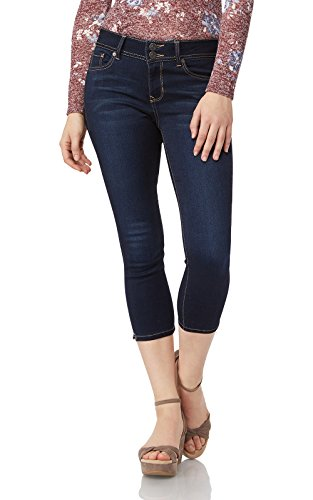 Double Button Skinny Jean - WallFlower Juniors Women's InstaSoft Ultra Fit Skinny Crop Jeans in Lake, 5