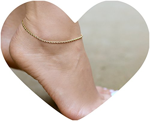 Lifetime Jewelry Anklets for Women Men Teens and Kids - 24K Gold Plated 2mm Rope Chain - Durable Foot Jewelry for Beach or Party - Cute Yellow Gold Ankle Bracelet - Anklet sizes are 9 10 and 11 inches