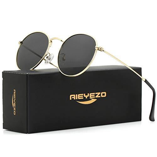 Polarized Sunglasses for Men Women Vintage Round Metal Sun Glasses 100% UV400 Protection (Gold/Grey)