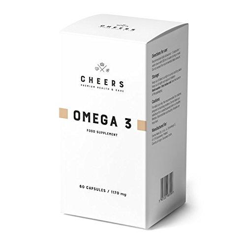 Omega 3 por Cheers - Suplemento de aceite para pescado - Potencia 2X - 550 mg de DHA/EPA por cápsula - Sin sabor y olor a pescado - HACCP, GHP, ...