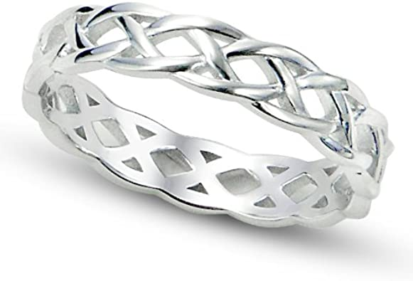 Beautiful Handmade 925 Sterling Silver Twisted Celtic Style Ring Size N//7