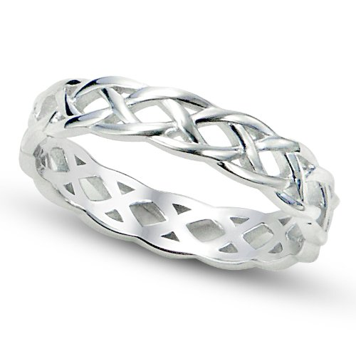Metal Factory Sz 4 Sterling Silver 925 Celtic Knot Eternity Band Ring ()