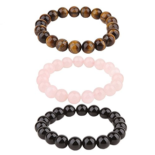 HYBEADS 3Pcs 10M Fengshui Mala Buddha Tiger Eye Bracelet Rose Quartz Stretch Bracelet Black Onyx Bracelet
