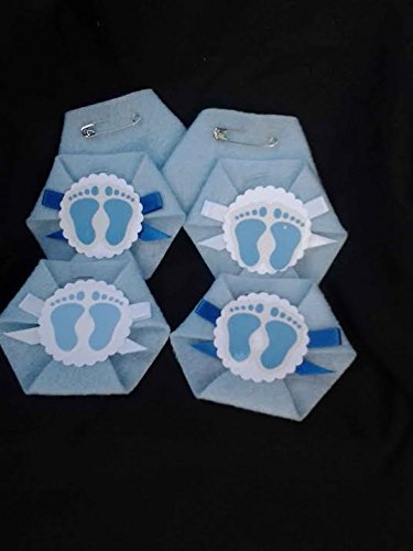 Dirty Diaper Game 24 pack Baby Feet Boy Baby Shower Safety Pins Incl.
