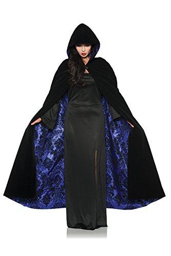 Deluxe Velvet & Satin Flocked Hooded Cape Adult Renaissance Cloak Medieval (Cloak Renaissance Adult)
