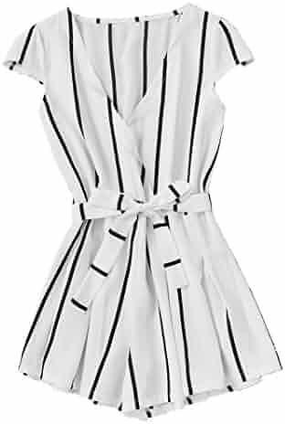 5d885de4640 Romwe Women s Casual Vertical Striped Jumpsuit Romper with Belt