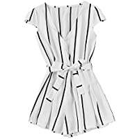 Romwe Women's Casual Vertical Striped Jumpsuit Romper With Belt