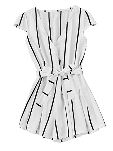 Cute Teen Girl Dresses (ROMWE Women's Casual Vertical Striped Jumpsuit Romper with Belt White)