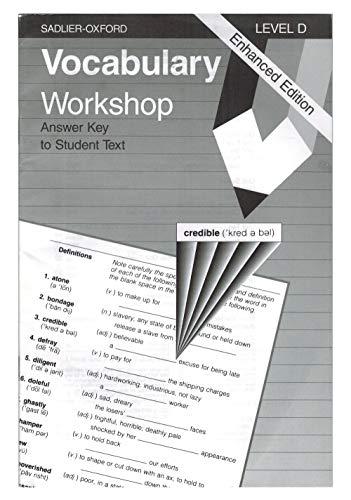 Vocabulary Workshop Level D Answer Key Book By Jerome