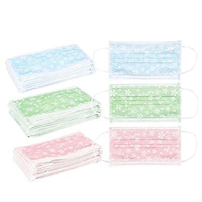 Pack of 60 Flower Pattern Disposable Face Masks - Medical Mask - Allergy Mask - Dental Mask - Flu Mask, Blue, Green, Pink