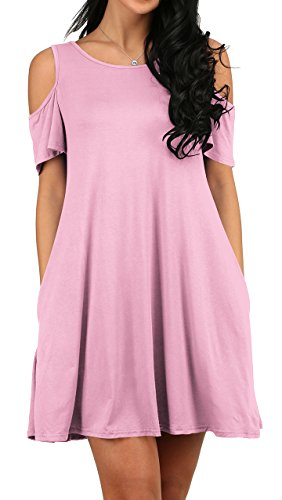 OFEEFAN Women's Basic Tunic Tank Top with Flared Hem Dress Pink XL -