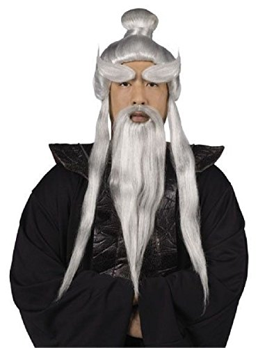 [Sensei Wig Beard Set Mens Karate Master Kid Martial Arts Trainer] (Glitter Beard Costume)