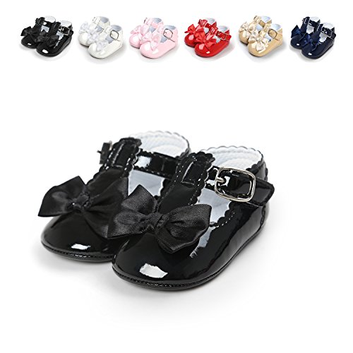 Sabe Infant Baby Girls Soft Sole Prewalker Crib Mary Jane Shoes Princess Light Shoes (11cm(0-6 Month), A-Black) (New Infant Baby Crib Shoes)