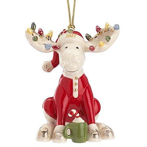 Lenox 2017 Marcel Moose Figurine Ornament Annual The Bedtime Red Pajamas (Ornaments Pajamas)