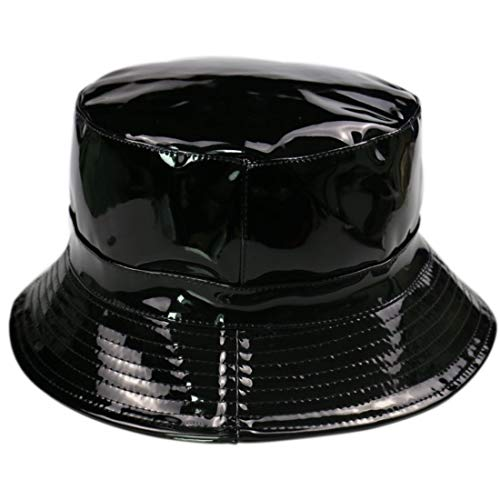 Souliyan Classic Bucket Hat Pure Black Patent Leather Fisherman Hat