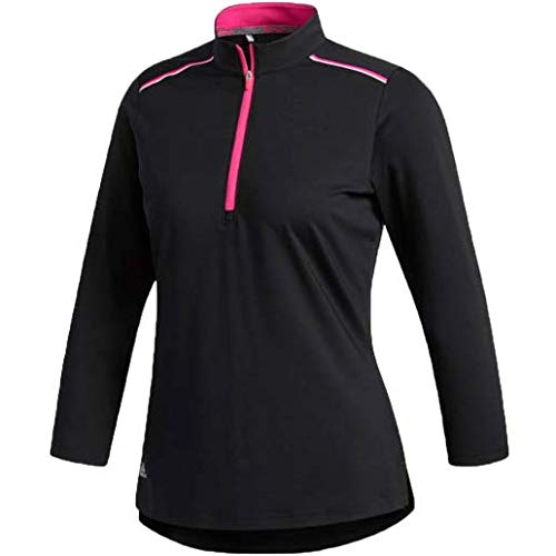 adidas Golf Women's 3/4 Sleeve Zip Polo, X-Large, Black