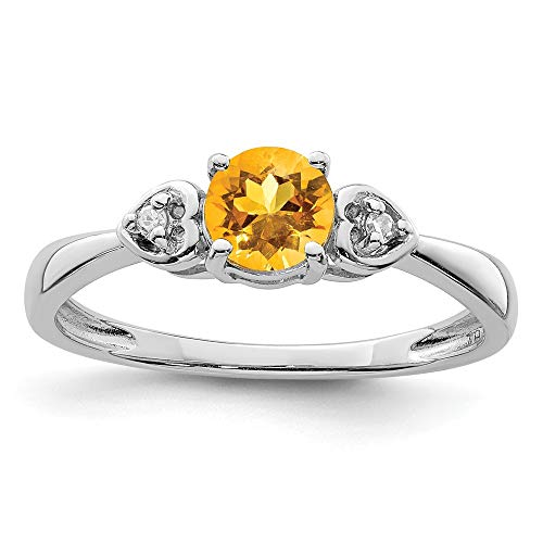 925 Sterling Silver Diamond Yellow Citrine Round Band Ring Size 9.00 Gemstone Fine Jewelry Gifts For Women For Her