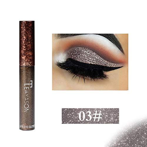 CYCTECH Metallic Glitter Liquid Eyeshadow, 12 Colors High Pearl Shimmer Waterproof Long Lasting Eye Shadow (C) -