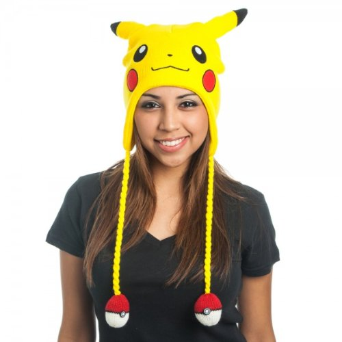 Pokemon Hats (BIOWORLD Pokemon Pikachu Laplander Fleece Beanie Cap with Ears)