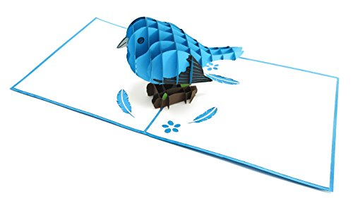 (PopLife Bluebird of Happiness 3D Pop Up Mothers Day Card - Anniversary Pop Up Birthday Card, Good Luck, Thank You - Cute Gift for Her - Fold Flat for Mailing - for Mom, for Daughter, for Wife, Grandma)