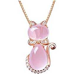 Women's Rose gold Pendant Necklace Cute Kitty Adorned Crystals (Cat Crystal Necklace Pendant)