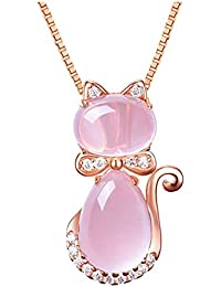 Women's Pendant Necklace Cute Kitty Adorned Crystals