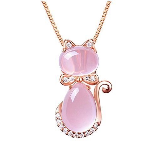 Women's Rose gold Pendant Necklace Cute Kitty Adorned Crystals (Cat Crystal Necklace Pendant) (Cats Eye Jewellery)