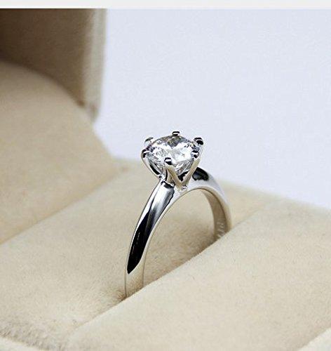 Gowe ronde 1CT Lab Cultivées Diamant classique 6griffes Or blanc 14K Bague de fiançailles solitaire Esdomera moissanites Mariage Bague