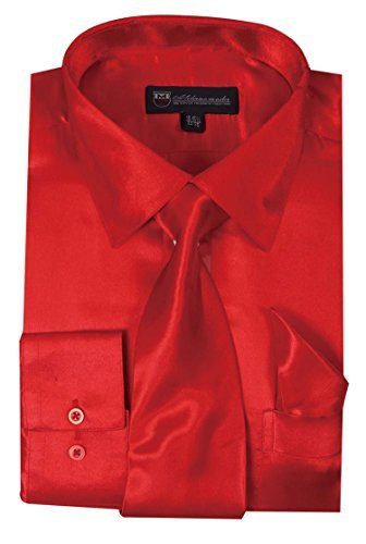 Milano Moda Satin Classic Dress Shirts with Tie & Hankie SG08-Red-16-16 - Milano Red Dress