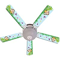 Blue Cute Monkey Designer 52in Ceiling Fan Blades Set - Multi Fan Set Blades Ceiling 5 Replacement Blade Arms New Svitlife