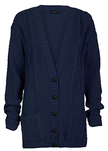 Blue Knit Cardigan Sweater - Ladies Long Sleeve Button Up Chunky Cabel Knitted Grandad Cardigan (Large, Navy)